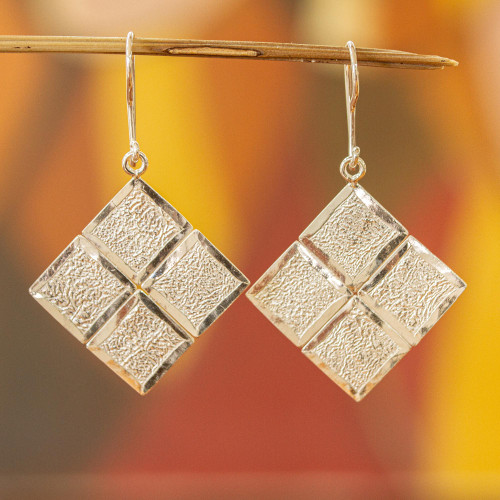 Contemporary Handcrafted Textured Sterling Silver Earrings 'Windows of Texture'