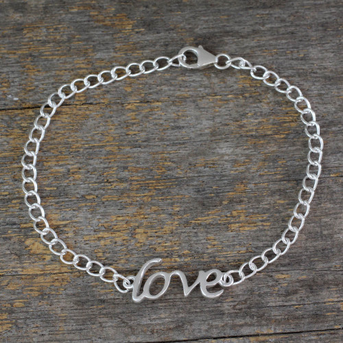 Love Themed Bracelet Hand Crafted from Sterling Silver 'Remember to Love'