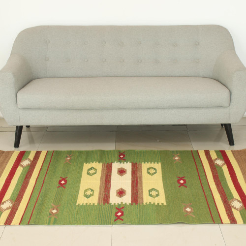 Green and Multicolor Wool Area Rug Woven on Handloom 4x6 'Autumn Muse'