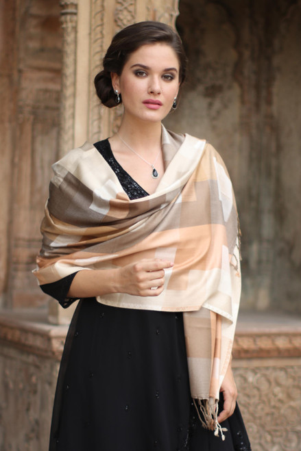 Indian Viscose Shawl with Geometric Pattern 'Earthy Story'