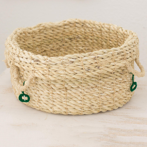 Handwoven Maguey Fiber Open Basket from Guatemala 'Ixchel in the Forest'