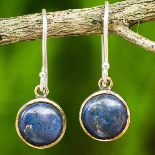 Handcrafted Brass and Silver Earrings with Lapis Lazuli 'Early Sun'