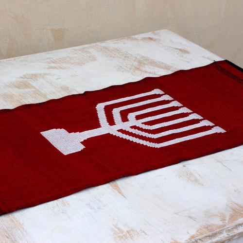 Handwoven Red Cotton Hanukkah Menorah Table Runner 'Red Menorah Lights'