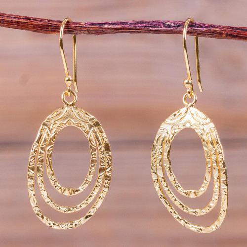 Modern Gold Plated Earrings Peru Artisan Crafted Jewelry 'Centrifuge'