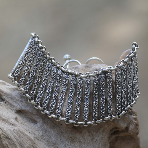 Indonesian Sterling Silver Artisan Crafted Bracelet 'Bridge to Beauty'