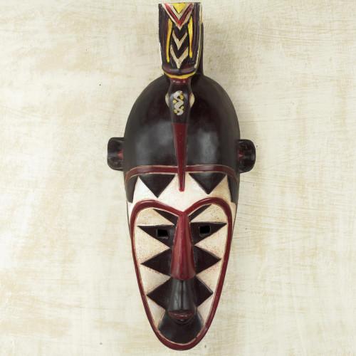 Artisan Crafted Senufo Replica African Wall Wood Mask 'Senufo Order'