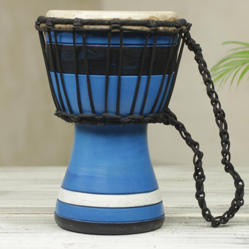 Blue Decorative Djembe Drum Artisan Crafted in West Africa 'Blue Invitation to Peace'