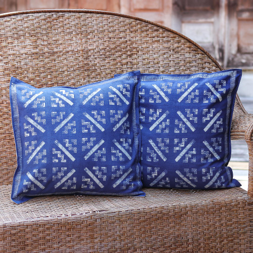 Hill Tribe Artisan Crafted Cotton Batik Cushion Covers Two 'Blue Hmong Starbursts'