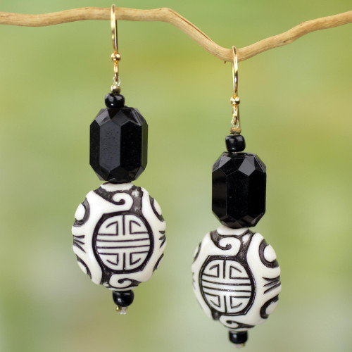 Chinese Theme Recycled Plastic Earrings from Ghana 'Gift from Asia'
