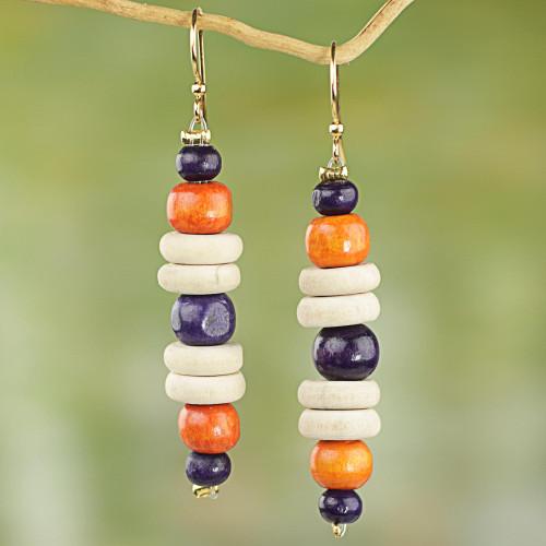 Purple and Orange Sese Wood Dangle Earrings 'Summer Rain'