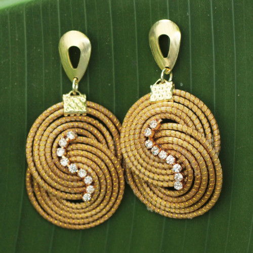 Artisan Crafted Rhinestone and Golden Grass Dangle Earrings 'Intertwined Circles'