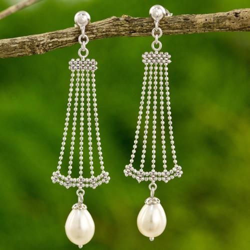 Thai Sterling Silver Chandelier Earrings with Cultured Pearl 'Jasmine Terrace'