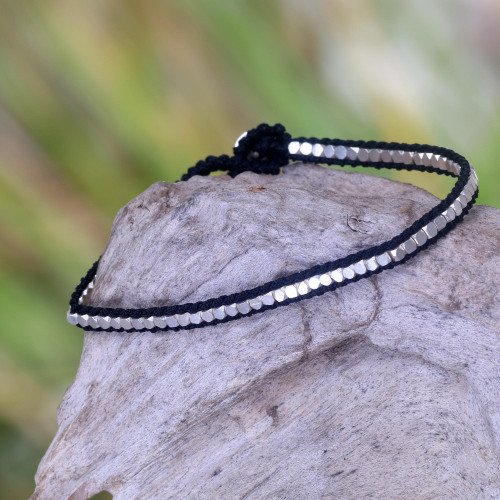 Hand Knotted Black Bracelet with Sterling Silver Beads 'Black Moonlight Path'