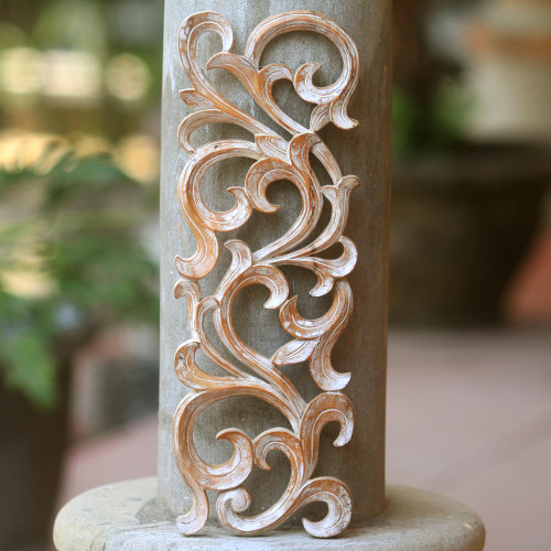 Hand Carved Wood Wall Panel with Fern Motif from Bali 'Gentle Fern'