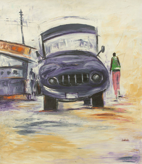 Original Acrylic Painting of Lorry in West Africa 'Away from Home'