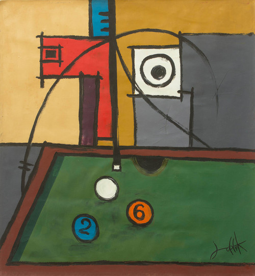 Ghanaian Abstract Acrylic Painting on Canvas of Pool Player 'Focus II'
