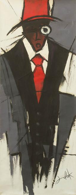 Original Acrylic Portrait of Man on Canvas from West Africa 'Gentleman'