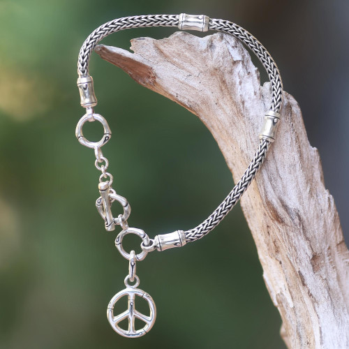 Artisan Crafted Sterling Silver Bracelet with Peace Charm 'Peaceful Bamboo'