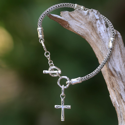 Hand Crafted Sterling Silver Cross Charm Bracelet from Bali 'Bamboo Spiritual'