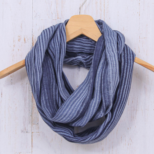 Dark Blue and White 100 Cotton Infinity Scarf from Thailand 'Foggy Night'