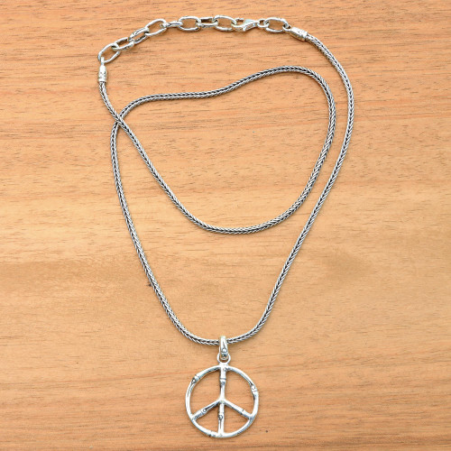 Sterling Silver Bamboo Motif Peace Symbol Pendant Necklace 'Bamboo Peace'