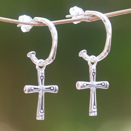 Sterling Silver Balinese Bamboo Motif Cross Earrings 'Bamboo Cross'