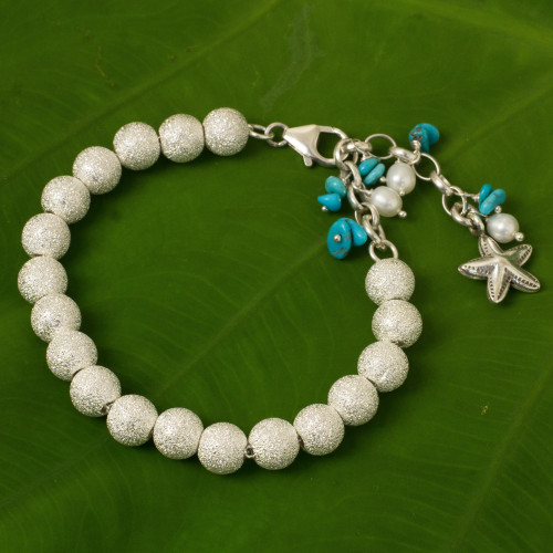 Artisan Crafted Silver Bracelet with Starfish Charm 'Sparkling Waves'