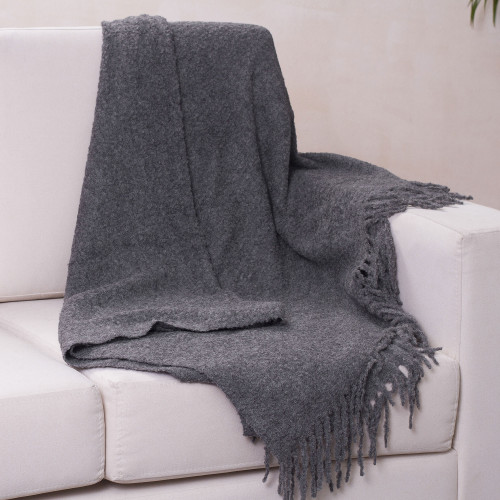 Ultra Soft Baby Alpaca Blend Throw Solid Grey Boucle 'Cozy Rainy Days'