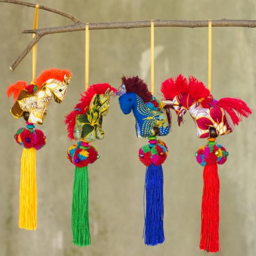 Artisan Crafted Multicolor Thai Cotton Horse Ornaments 4 'Happy Thai Horses'