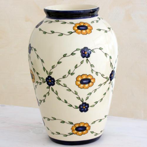 Hand Crafted Ceramic Vase with Floral Motif Large 'Margarita Garland'