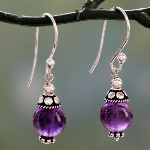 Sterling Silver Dangle Earrings with Petite Amethyst Globes 'Royal Discretion'