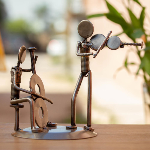 Musician Sculpture of Recycled Spark Plugs and Metal 'Cello and Violin Duet'
