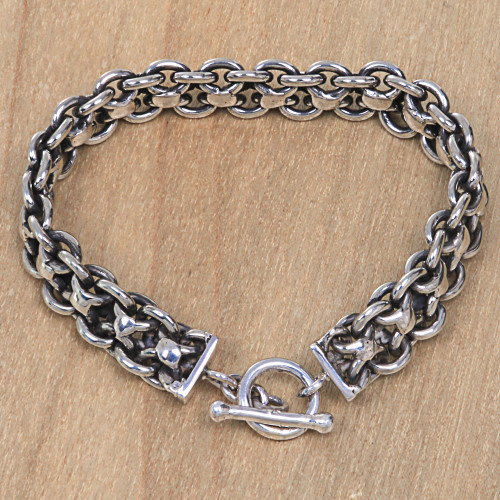 Hand Crafted Sterling Silver Men's Bracelet from Bali 'Ancient History'