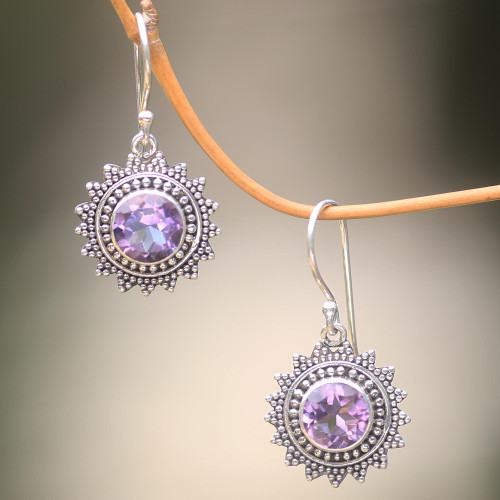 Hand Crafted Amethyst and Sterling Silver Dangle Earrings 'Purple Sunshine'