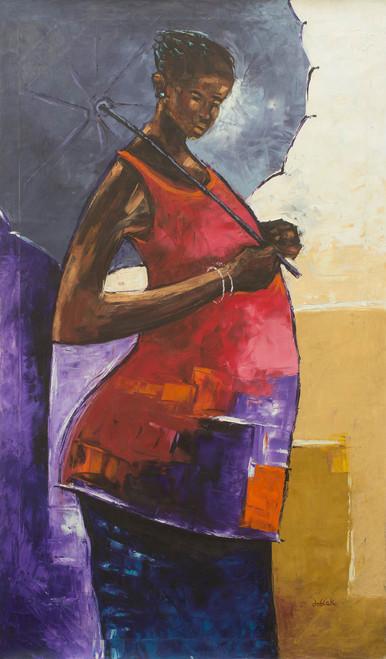 Original Signed Acrylic Portrait of Woman with Umbrella 'Single Shade'
