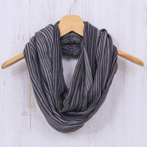 Hand Woven 100 Cotton Infinity Scarf in Black and White 'Smoke'