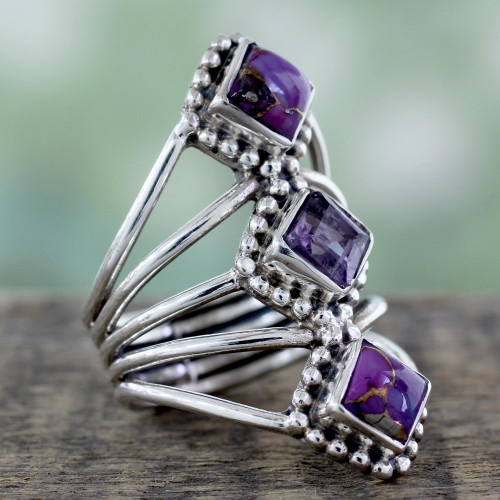 Amethyst and Reconstituted Turquoise Handmade Cocktail Ring 'Purple Allure'