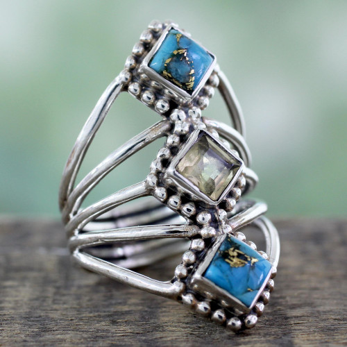 Handmade Citrine and Reconstituted Turquoise Ring 'Golden Allure'