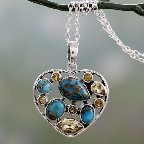 Handmade Citrine and Sterling Silver Heart Pendant Necklace 'Golden Jaipuri Heart'
