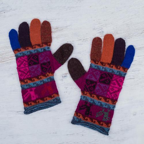 Artisan Crafted 100 Alpaca Multi-Colored Gloves from Peru 'Peruvian Patchwork in Magenta'