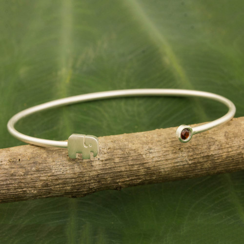 Artisan Crafted Garnet and Sterling Silver Cuff Bracelet 'Elephant Smile'