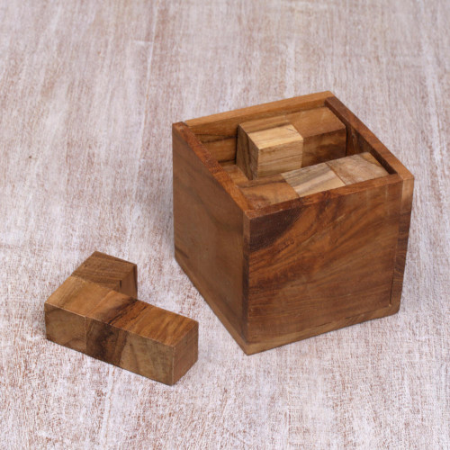 Artisan Crafted Upcycled Teakwood Puzzle from Java 'Magic Box'