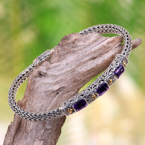 Handcrafted Bali Gold Accent Silver and Amethyst Bracelet 'Bedugul Temple'
