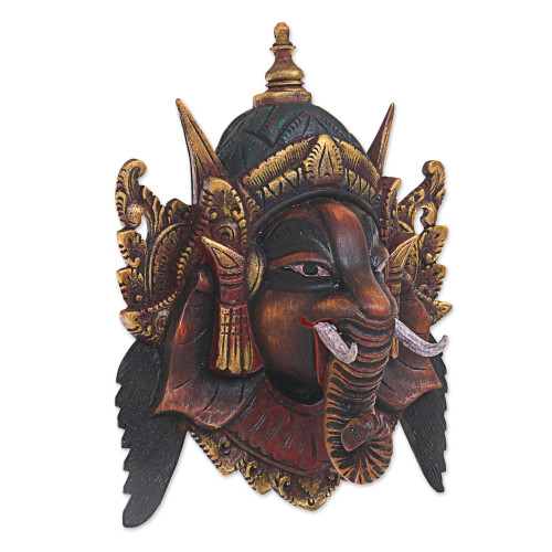 Artisan Crafted Acacia Wood Mask of Ganesha from Bali 'Bestower of Happiness'