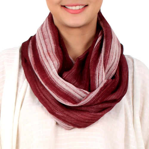 Hand Woven 100 Cotton Infinity Scarf from Thailand 'Burgundy Horizon'