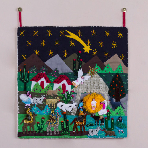 Andean Patchwork Christmas Star Wall Hanging 'Christmas Star Nativity'