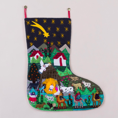 Handcrafted Andean Applique Christmas Stocking 'Village Nativity'