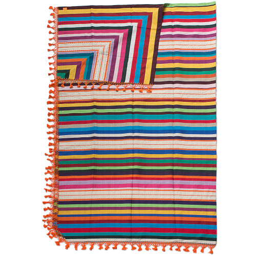 Artisan Crafted 100 Cotton Colorful Striped Blanket King 'Zapotec Sunset'