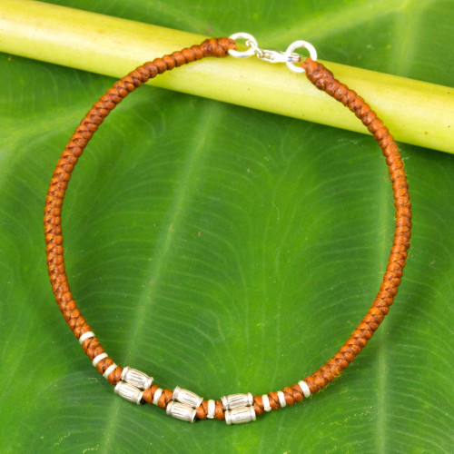 Sterling Silver Accent Wristband Bracelet from Thailand 'Bamboo Bracelet in Rust'