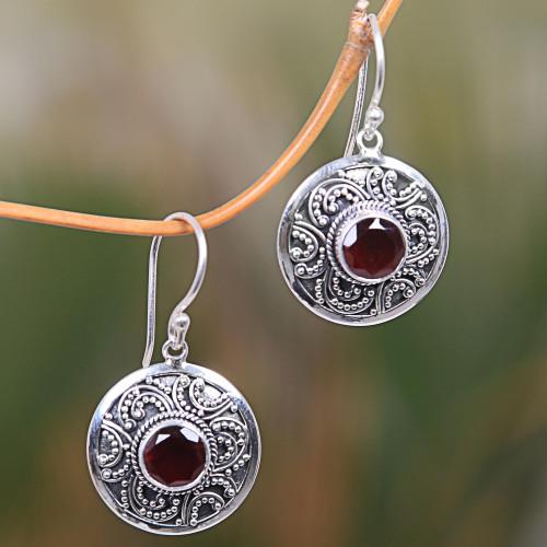 Handcrafted Balinese Sterling Silver Garnet Earrings 'Balinese Aura'